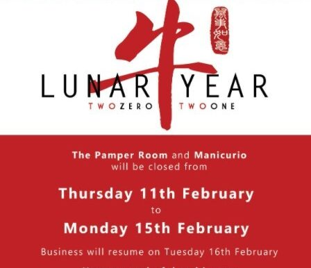 The Pamper Room Wishes all our customers and friends a Happy Lunar New Year 2021