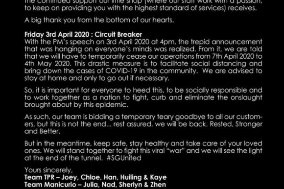 Temporarily Closure – Circuit Breaker – From us to you [7th May 2020 to 4th May 2020]